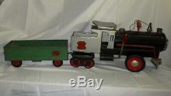 1930s Pressed Steel Keystone R. R. 6400 Ride Train Engine Locomotive & Coal Car