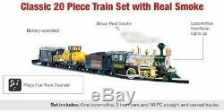 20 PC Electric Train Set Lights Sounds Smoke Engine Choo Choo 3 Cars Locomotive