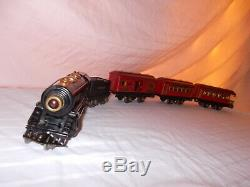American Flyer Pre-war O Gauge Train Set With Rare Lighted Cars Lot #l-121