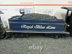 Bachmann G Scale Royal Blue Line Electric Train Set Locomotive Tinder Car Track