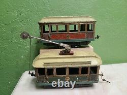 Carette O gauge prewar toy train tin trolley and trailer car powered catenary