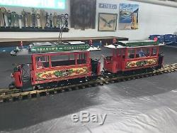 G Scale LGB 2036 Season's Greetings Powered (2)-Car Trolley Train Christmas
