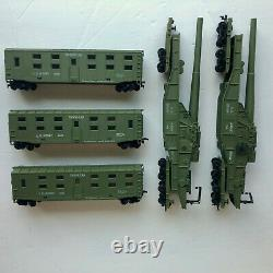 HO Army train cars & F3 locomotive, railway gun troop Q car hopper tanks caboose