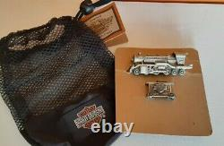 Harley Davidson fine pewter mini train set locomotive, caboose, 2 Ltd Ed cars