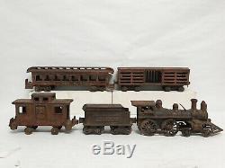 Ideal Cast Iron Floor Train Set Locomotive Tender Caboose Stock & Passenger Car