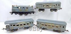 Ives Trains Prewar 3242R Electric Locomotive Engine 3 Passenger Cars 184 185 186