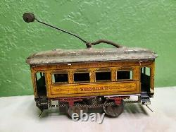 Ives tin prewar O scale litho windup toy train trolley car #800 early look old