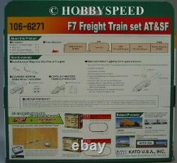 KATO N SCALE F7 FREIGHT TRAIN SET AT&SF ENGINE & 4 CARS locomotive 106-6271 NEW