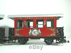LGB 22540 RED CHRISTMAS TRAIN STARTER SET STEAM LOCOMOTIVE With TWO PASSENGER CARS