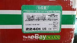 Lgb 22401 Train Set Locomotive Gondola Car Black Caboose With Transformer/track