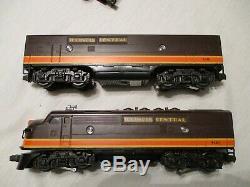 Lionel Illinois Central Passenger Train. F 3- A-b Locos 3 Aluminum Passenger Car