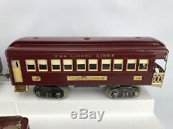 Lionel Prewar Super Motor Standard Gauge Train, Locomotive N0.8e, 337, 338 Cars
