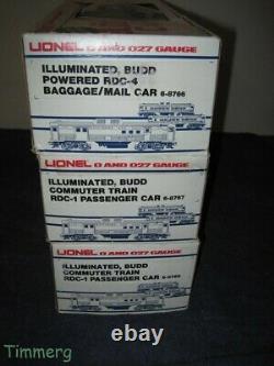 Lionel Trains 6-8766 8767 8768 B&O RDC Budd Cars Commuter Train 3 Car Set