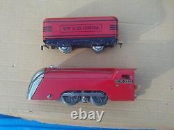 Marx Mercury Red Prewar O O27 Gauge Locomotive Passenger Car Train Set