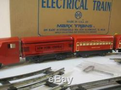 Marx The Red Locomotive and Passenger Cars Train Wind-up