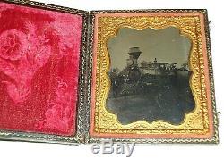 RARE 6th. P. Tintype Locomotive Railroad Train, Coal Car, RR conductor, workers