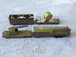 Rare Marx prewar ARMY Floor Train 4-Car Metal Wood Wheels 1940 wyandotte marx