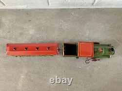STRAUSS No. 46 Locomotive Passenger Car Tin Clockwork Train Set Original Box