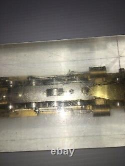 Vintage Akane Train Brass Locomotive And Coal Car Protect Acrylic Block