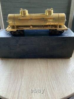 Vintage Brass Train Tank Car U. S. Hobbies 8000 GAL DOUBLE. WITH WHEELS (NO. 302)