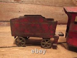 Vintage Rare 1900's Train Set Steam Engine With Car Metal Tin